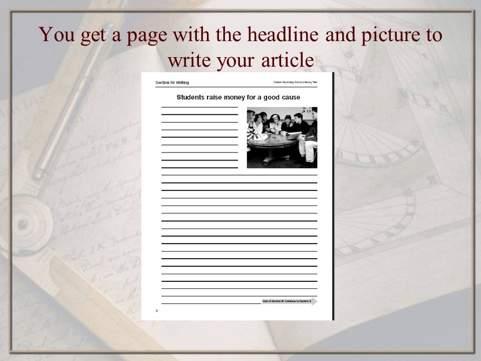 You get a page with the headline and picture to write your article
