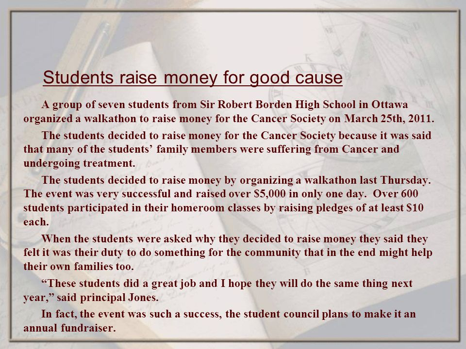 Students raise money for good cause