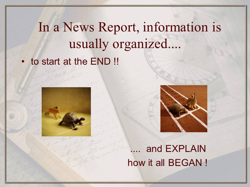 In a News Report, information is usually organized....