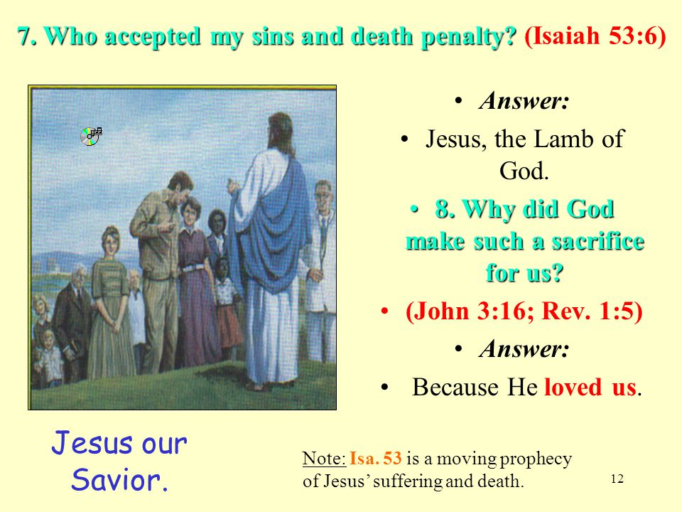 7. Who accepted my sins and death penalty (Isaiah 53:6)