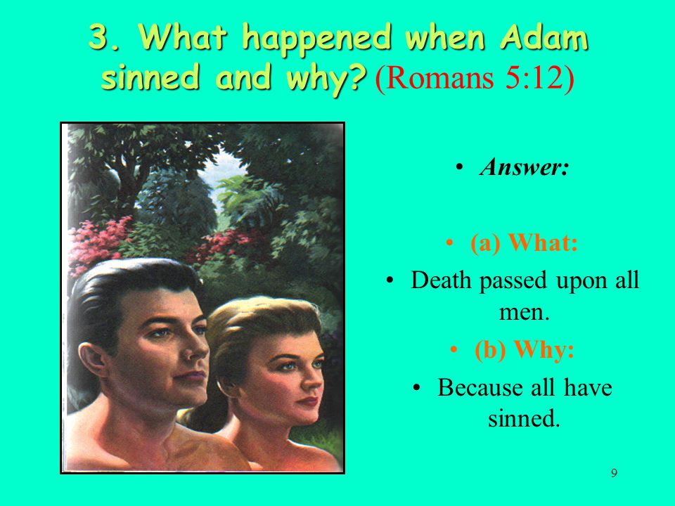 3. What happened when Adam sinned and why (Romans 5:12)