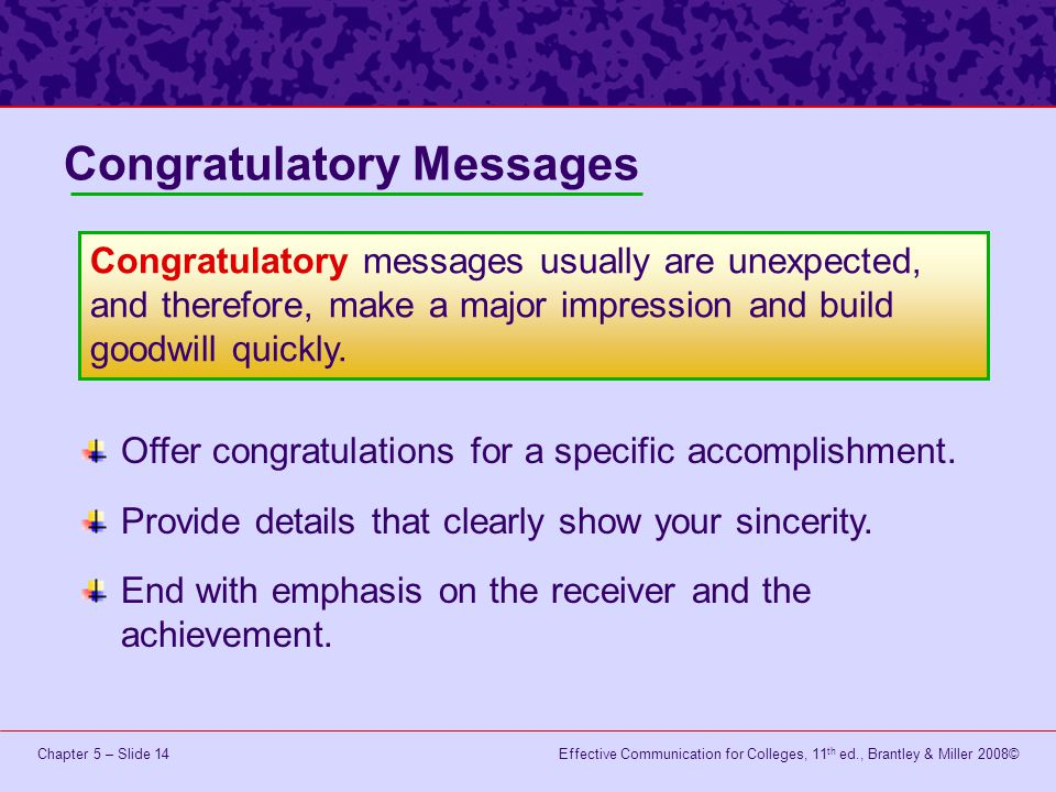 Congratulatory Messages