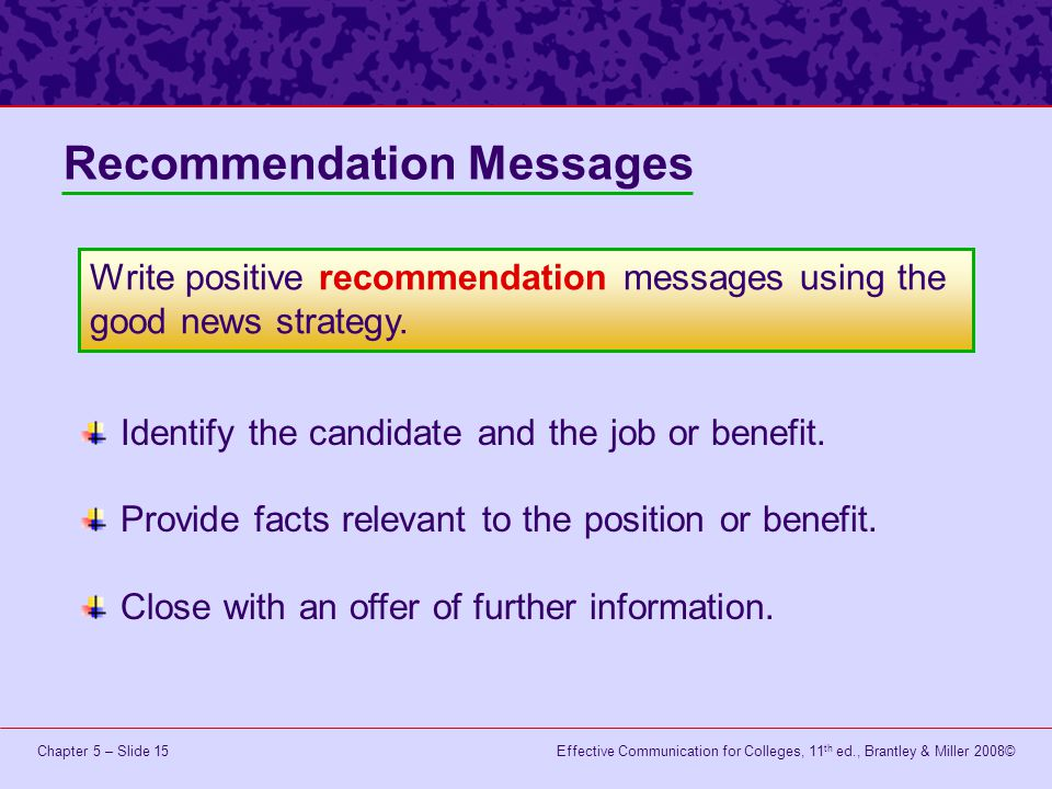 Recommendation Messages