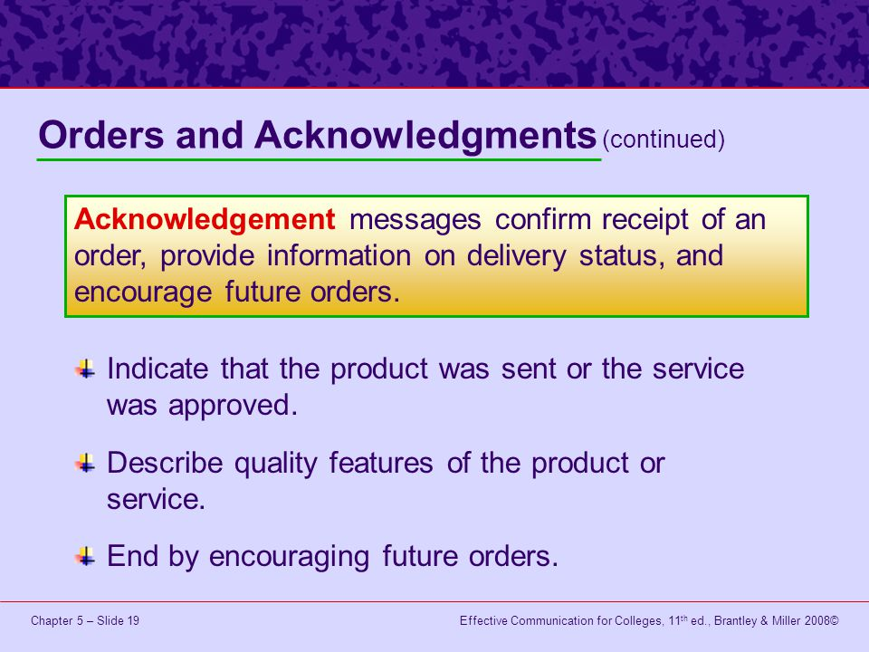 Orders and Acknowledgments (continued)