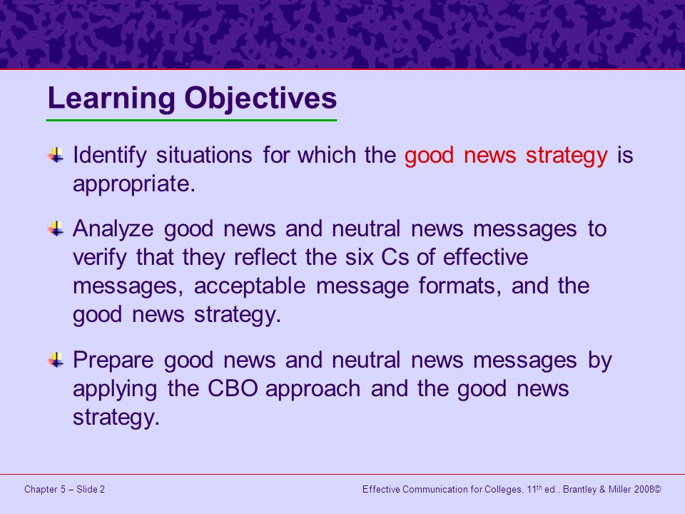 Learning Objectives Identify situations for which the good news strategy is appropriate.