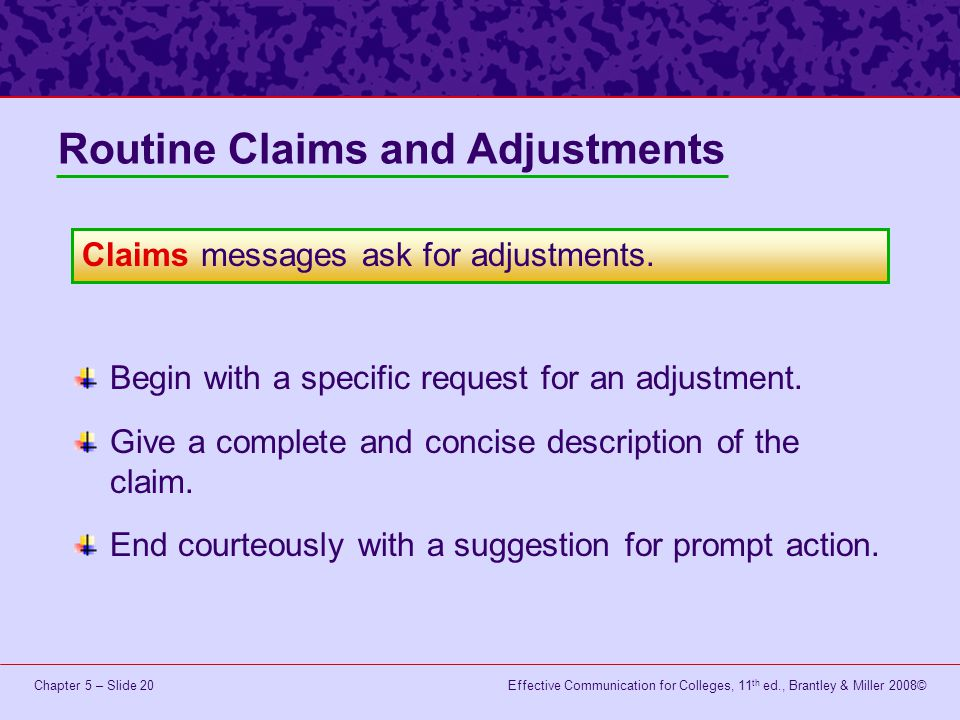 Routine Claims and Adjustments