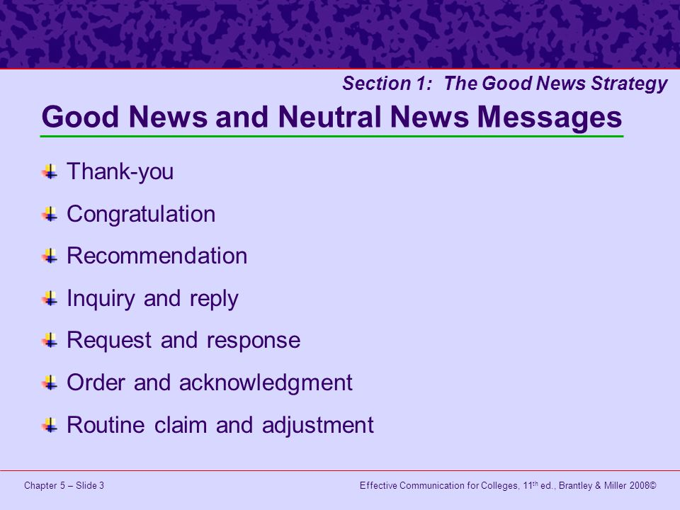 Good News and Neutral News Messages