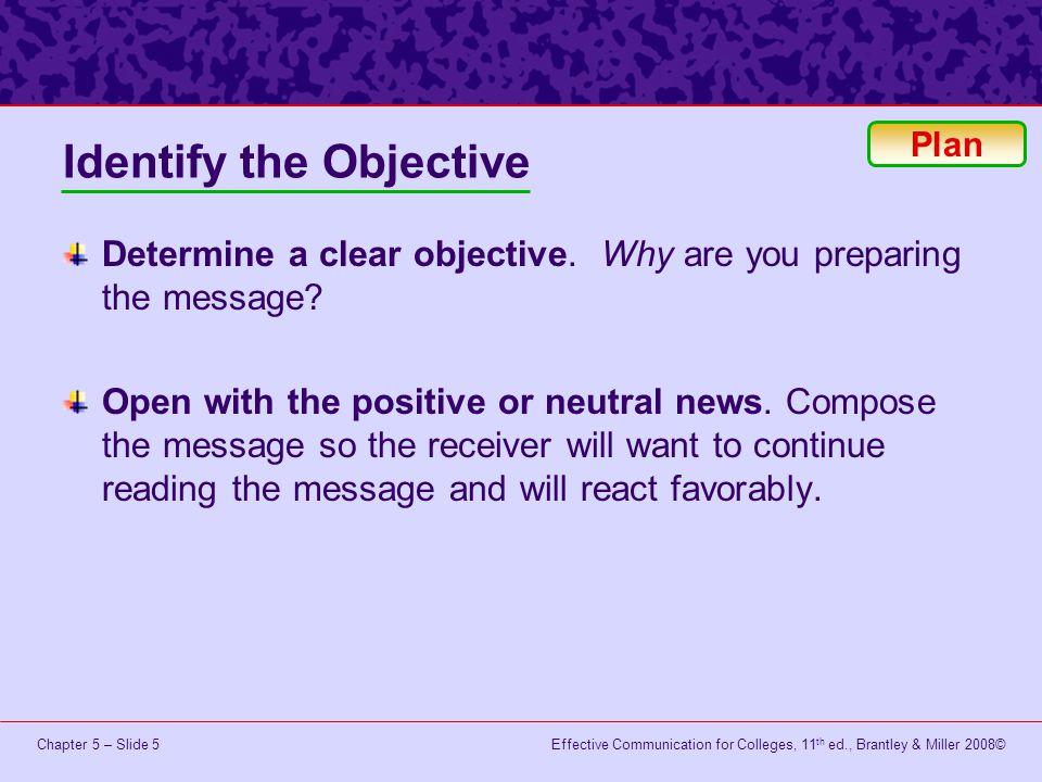 Identify the Objective