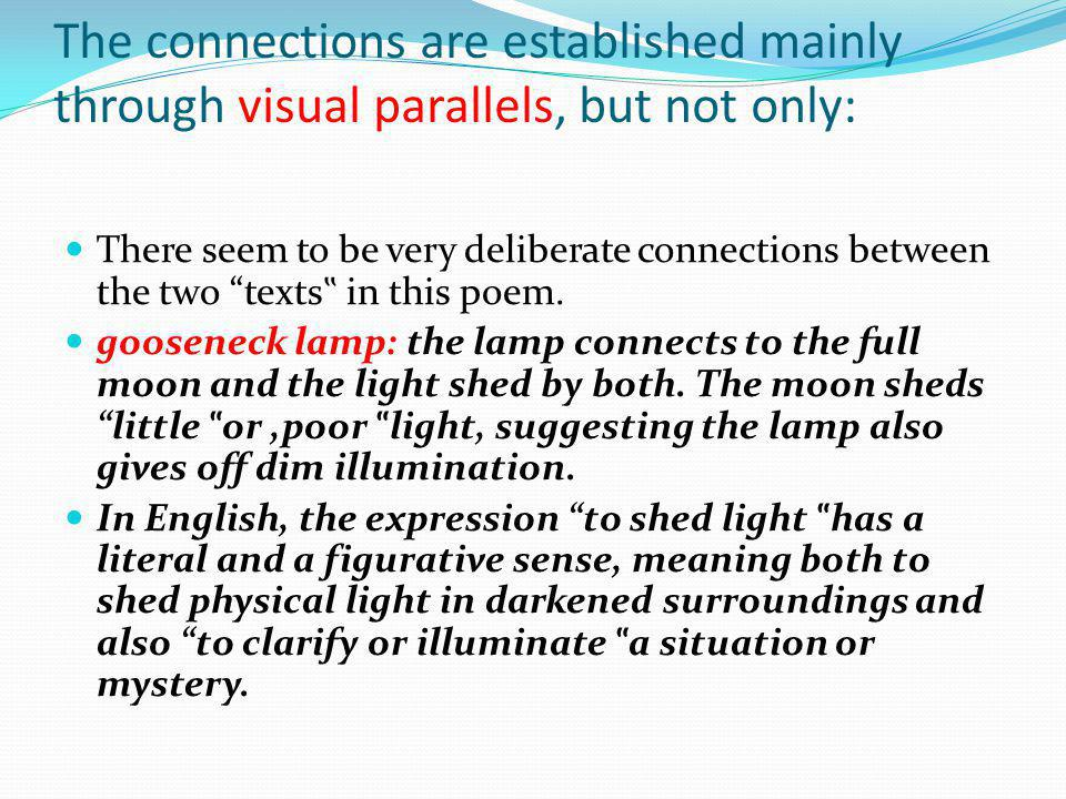 The connections are established mainly through visual parallels, but not only:
