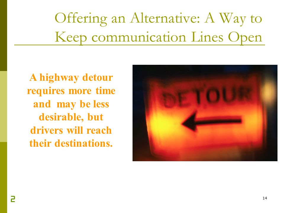 Offering an Alternative: A Way to Keep communication Lines Open
