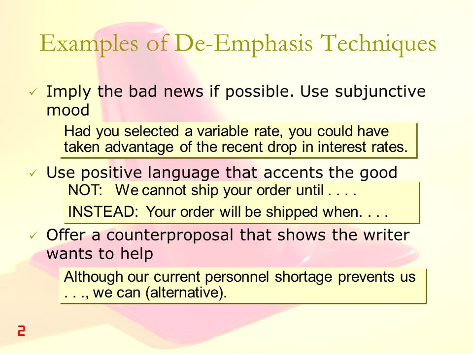 Examples of De-Emphasis Techniques