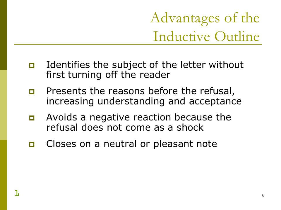 Advantages of the Inductive Outline