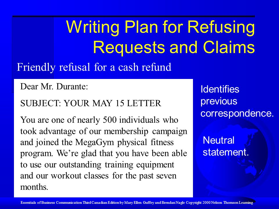 Writing Plan for Refusing Requests and Claims