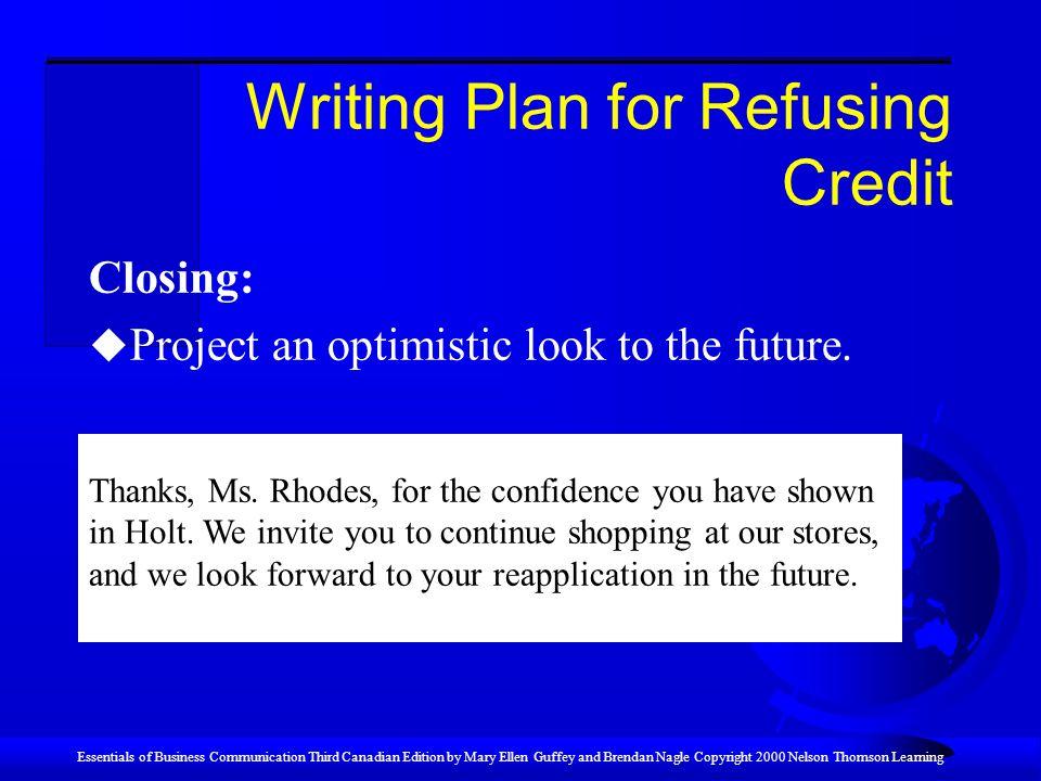 Writing Plan for Refusing Credit