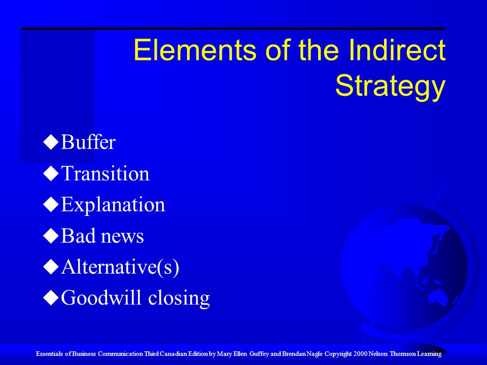 Elements of the Indirect Strategy