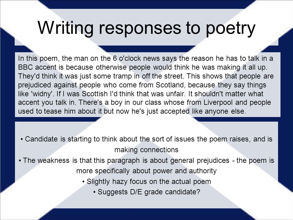 "response to poem essay Free essay: the second poem that i found inspirational to me was ""i will put chaos into fourteen lines"", by millay the author tries to describe how to."
