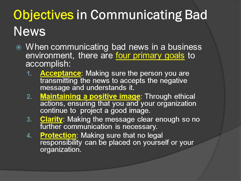 Objectives in Communicating Bad News