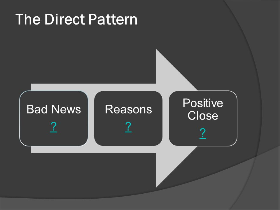 The Direct Pattern Bad News Reasons Positive Close