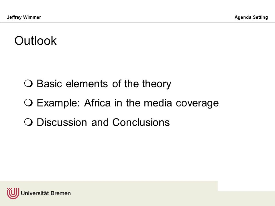 Outlook Basic elements of the theory