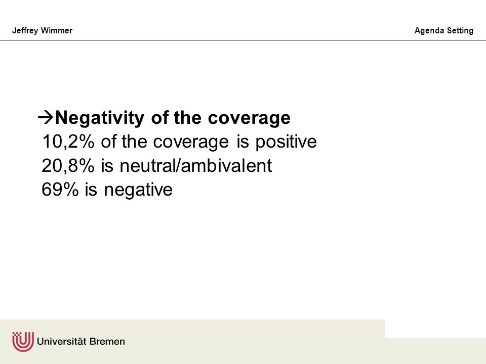 Negativity of the coverage 10,2% of the coverage is positive 20,8% is neutral/ambivalent 69% is negative