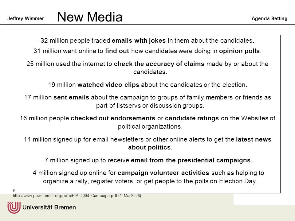 New Media 32 million people traded emails with jokes in them about the candidates.