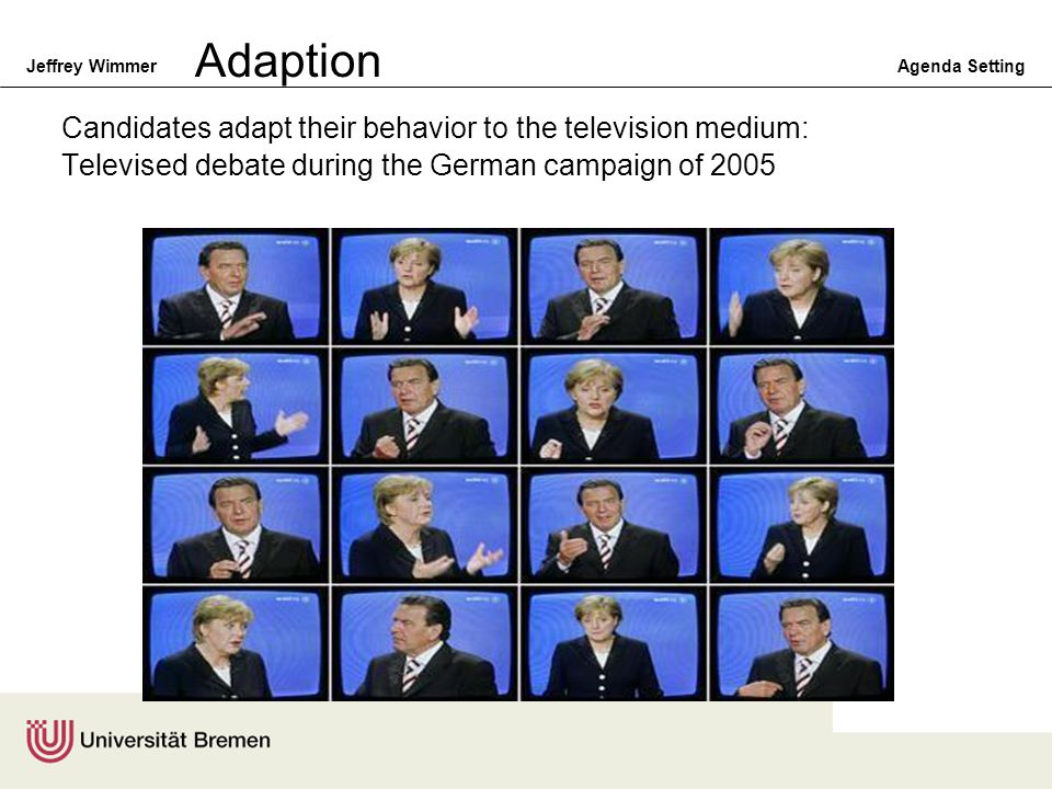 Adaption Candidates adapt their behavior to the television medium: Televised debate during the German campaign of 2005.