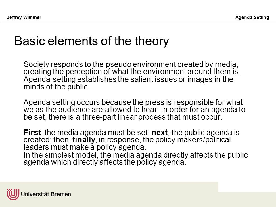 Basic elements of the theory