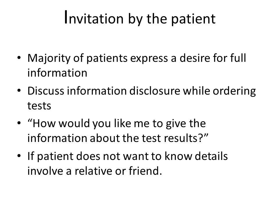 Invitation by the patient