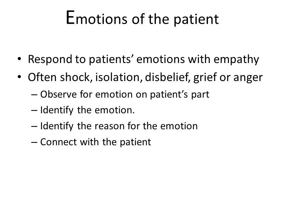 Emotions of the patient