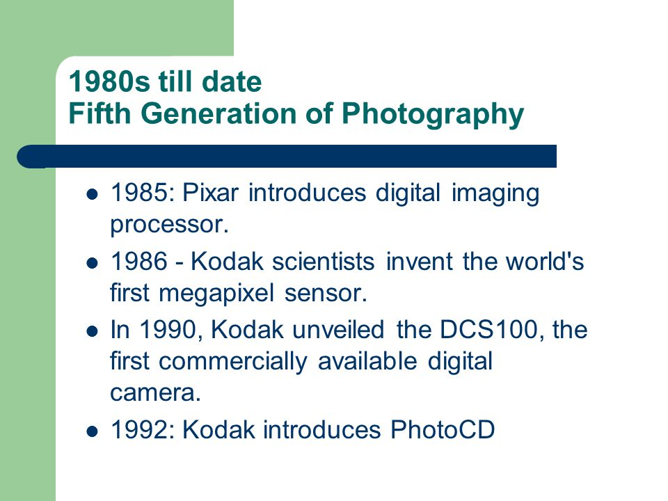 1980s till date Fifth Generation of Photography