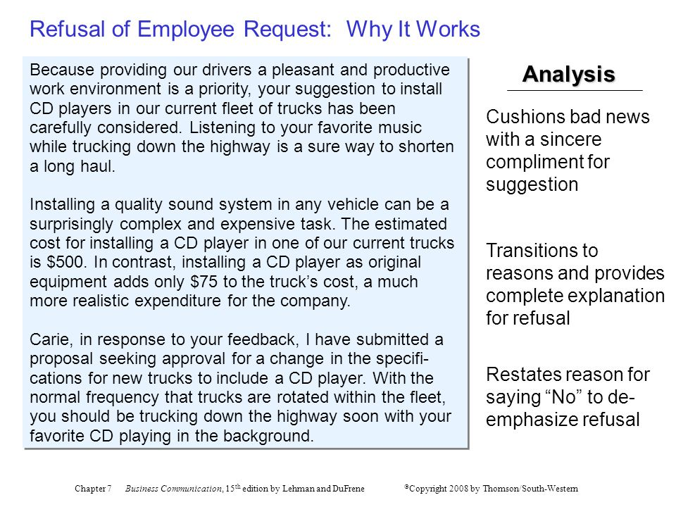 Refusal of Employee Request: Why It Works
