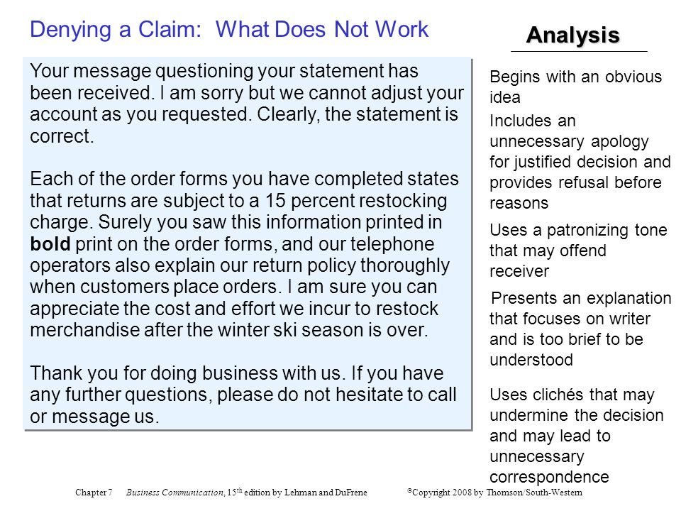 Denying a Claim: What Does Not Work