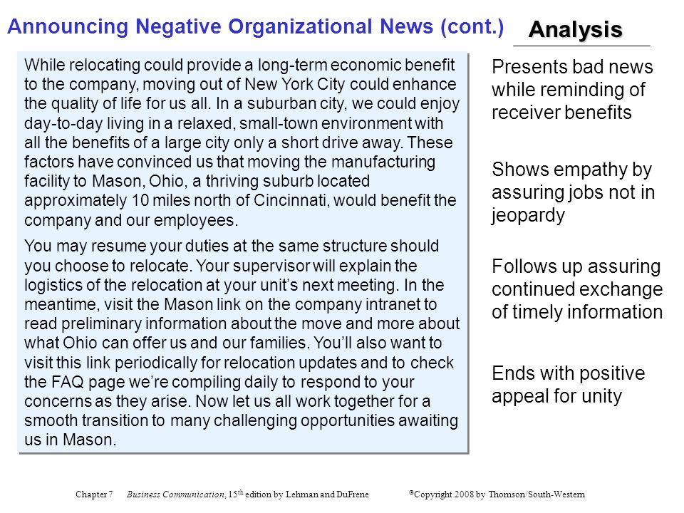 Announcing Negative Organizational News (cont.)