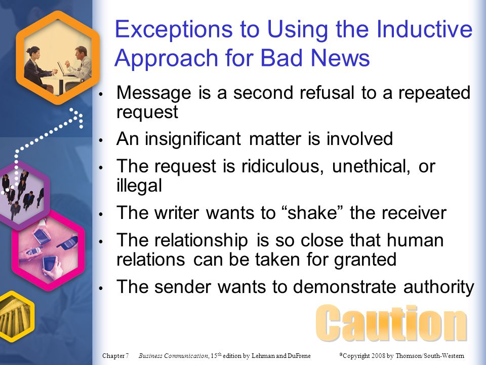 Exceptions to Using the Inductive Approach for Bad News