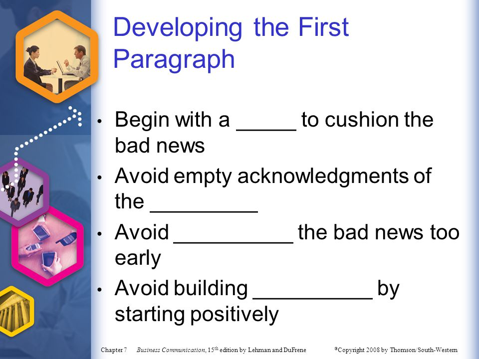 Developing the First Paragraph