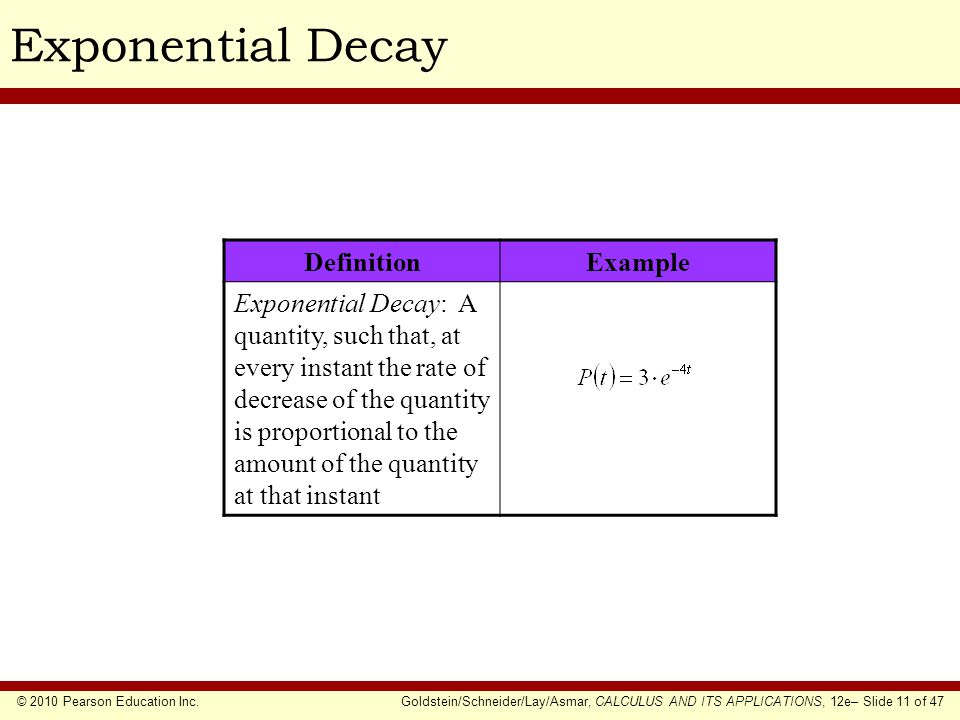 Exponential Decay Definition Example
