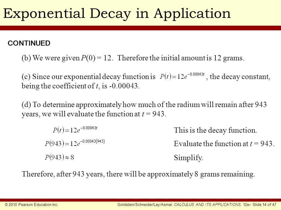 Exponential Decay in Application