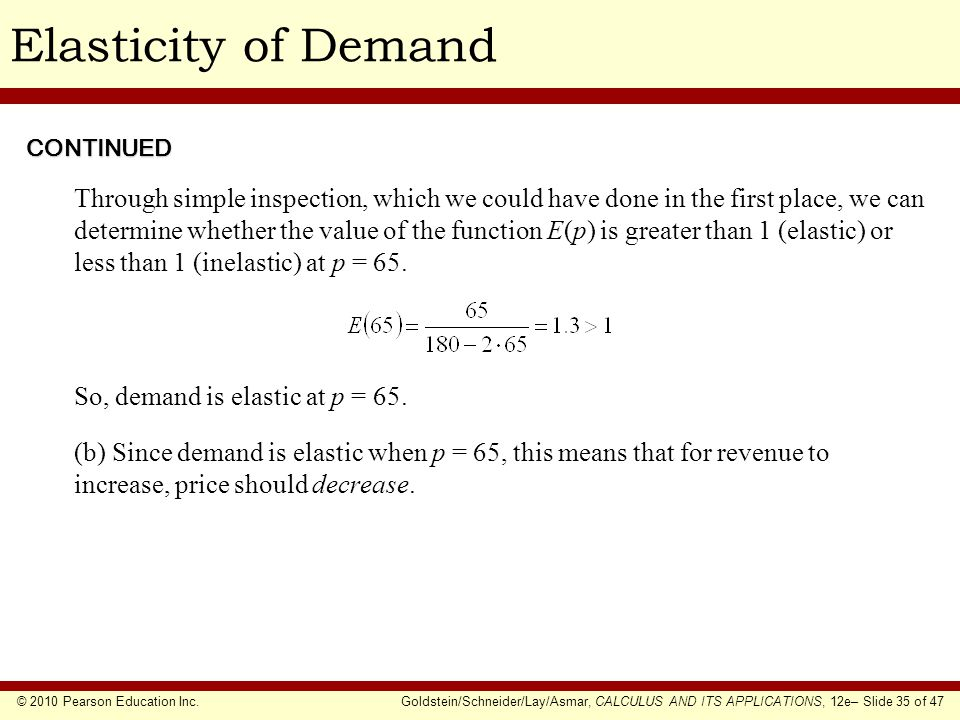 Elasticity of Demand CONTINUED.