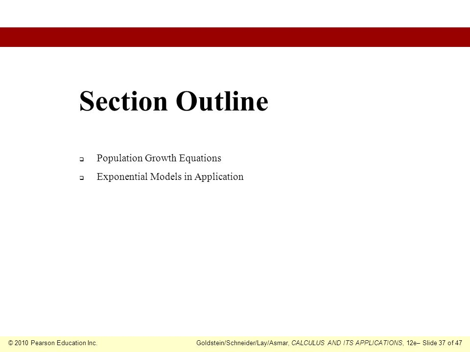 Section Outline Population Growth Equations