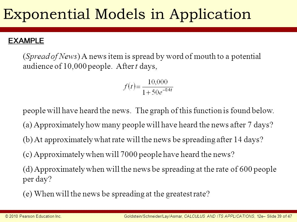 Exponential Models in Application