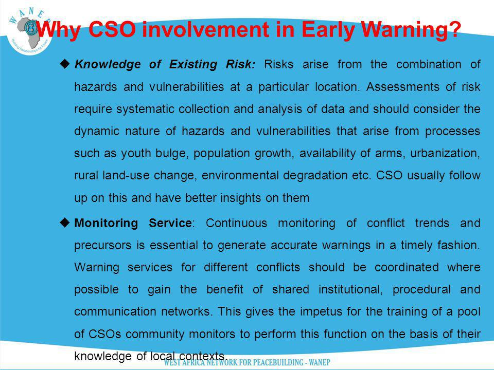 Why CSO involvement in Early Warning