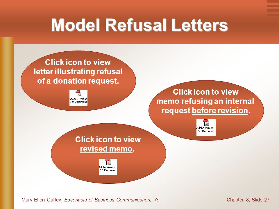 Model Refusal Letters Click icon to view letter illustrating refusal