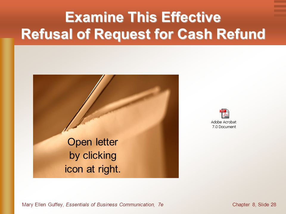 Examine This Effective Refusal of Request for Cash Refund