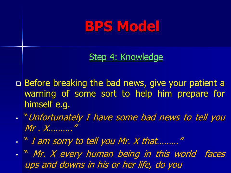 BPS Model Step 4: Knowledge