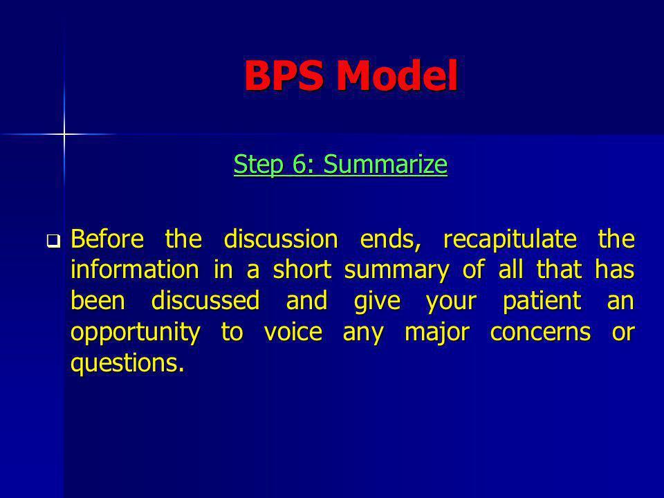 BPS Model Step 6: Summarize