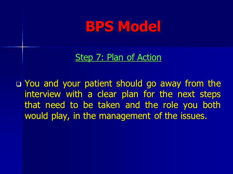 BPS Model Step 7: Plan of Action