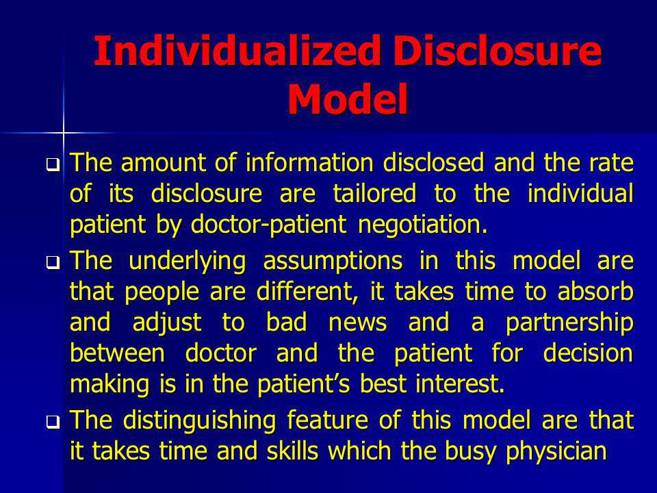 Individualized Disclosure Model