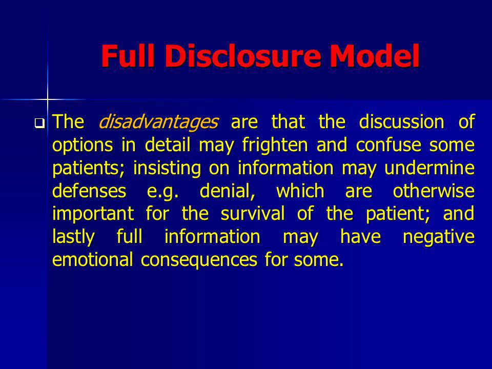 Full Disclosure Model