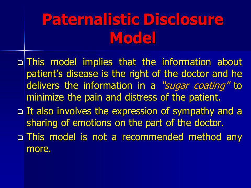 Paternalistic Disclosure Model