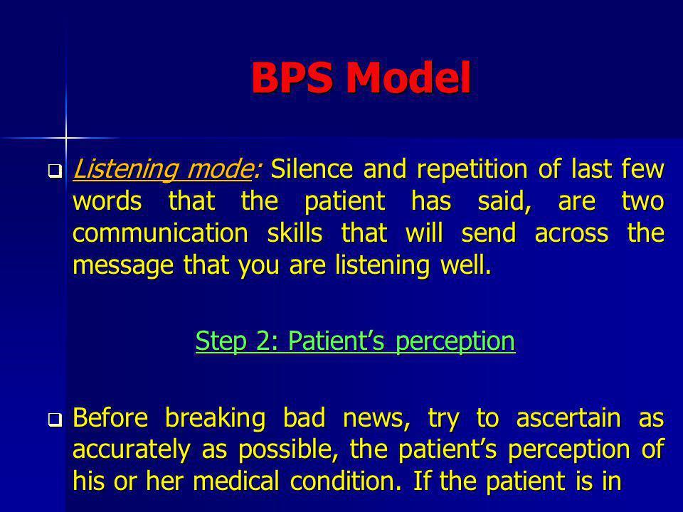 Step 2: Patient's perception